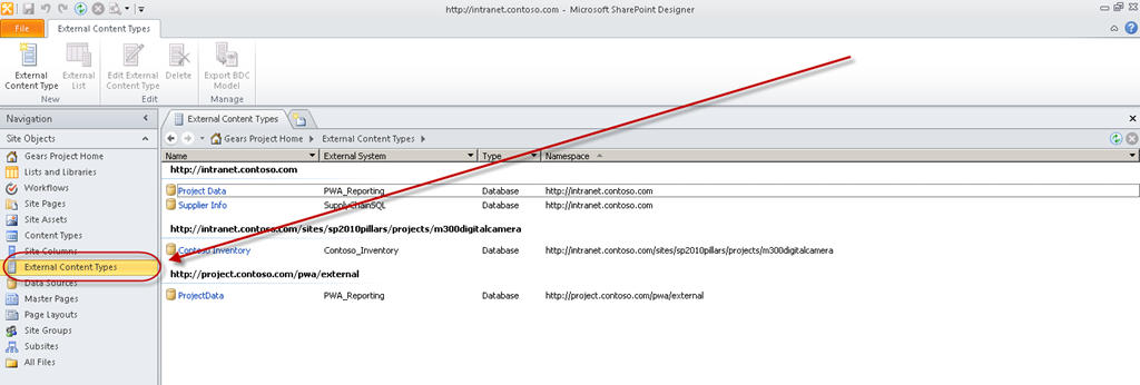 using external content types with project server 2010