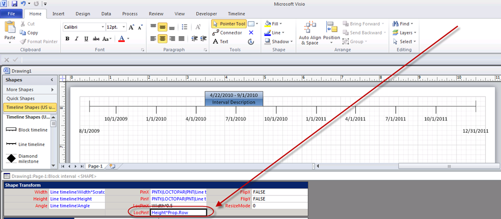 now whenever you edit the shape data field the interval will shift along the y axis as this is all being done through manipulation of field data - Visio Timeline Shapes